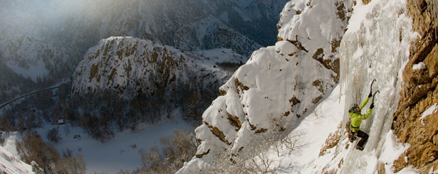 Caroline ice climbing in Big Cottonwood Canyon, Storm Mountain Falls, UT