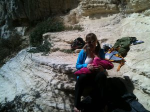 Getting breastfed on my first day at the crag