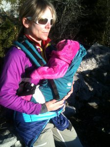 WIth mommy in the baby carrier